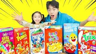 신기한 시리얼 먹방 아기상어.크리스마스트리,식빵 시리얼 총 출동 Cereal Challenge eating Mukbang - 마슈토이 Mashu ToysReview