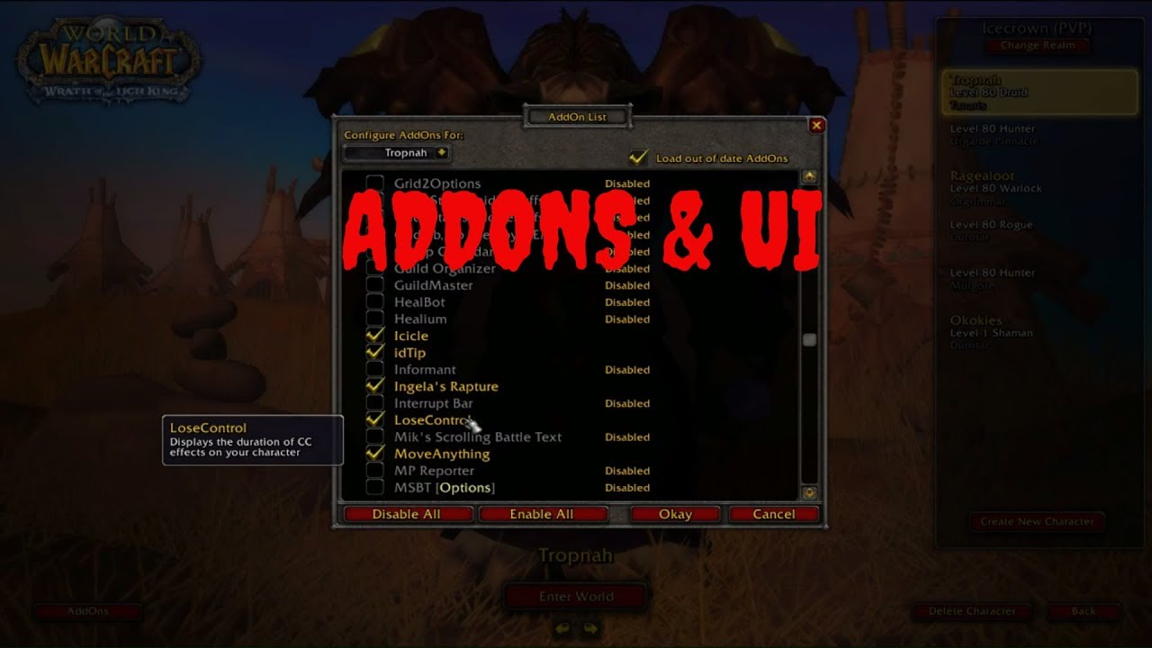 Addons and UI - including all settings for all characters