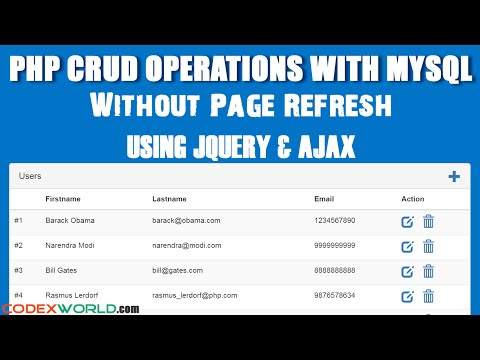 PHP CRUD Operations without Page Refresh using jQuery Ajax MySQL