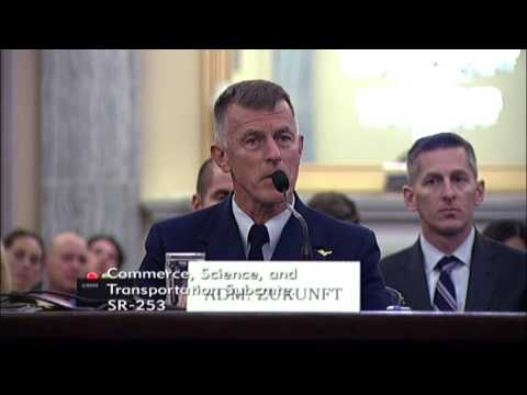 Sen. Dan Sullivan (R-AK) at a hearing with Adm. Paul Zukunft, U.S. Coast Guard Commandant
