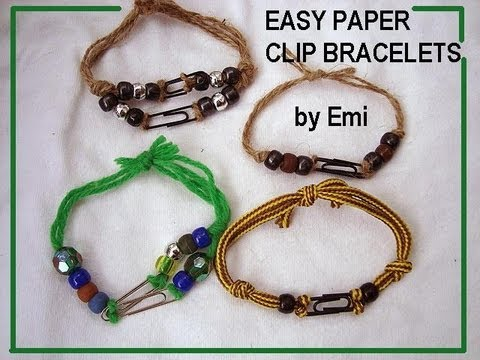 paper clip and yarn bracelet crafts for kids group