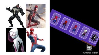 1:47 earth 616 spiderman,3:14 ps4 spiderman,5:04 spider gwen and my favorite creation on this channel venom 6:37