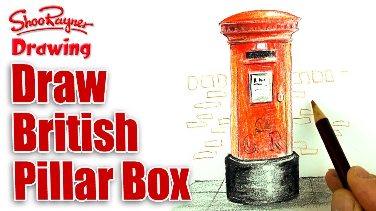 How To Draw A British Post Box With Coloured Pencils Youtube