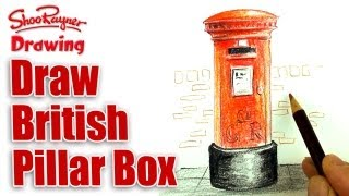 How to draw a British Post Box with coloured pencils