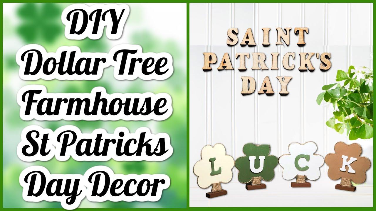 DIY Farmhouse St Patrick's Day Decor | Dollar Tree DIYs | Shamrock Luck DIY | St Patty's Day Decor