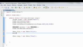 Java Gui- Add Menu Bar Tutorial,help Swing, Jmenubar, Jmenu