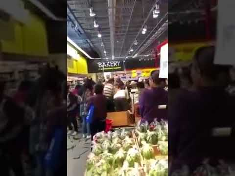 Chinese (PRC) tourists in a grocery store in Canada