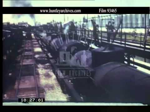 Tank Cars carrying oil in 1940's America.  Archive film 93465