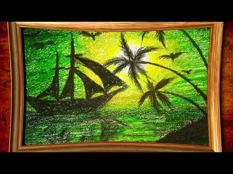 natural painting by oil pastels | landscape painting | colourful art design