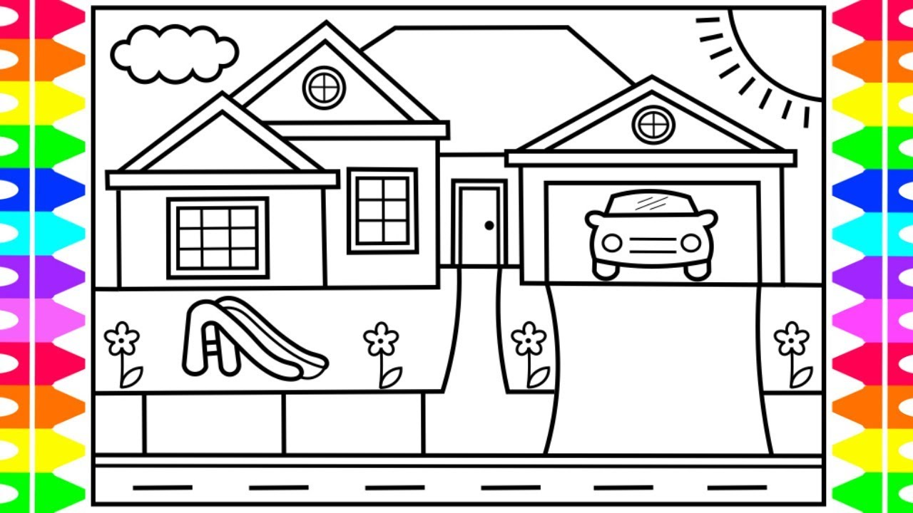 How to Draw a House for Kids 💜💚💙House Drawing for Kids ...