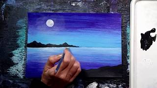 Twilight Cove Surreal Landscape Acrylic Painting | Timelapse Painting Demo