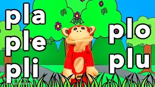 sílabas pla ple pli plo plu el mono sílabo videos infantiles educación para niños