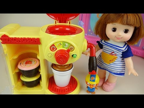 Thumbnail: Baby doll Tea time with Robocar Poli car Pororo Cafe machine toys and School play