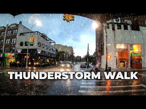 ⁴ᴷ FLASH FLOODING Thunderstorm Walk in NYC - One of the worst I've experienced