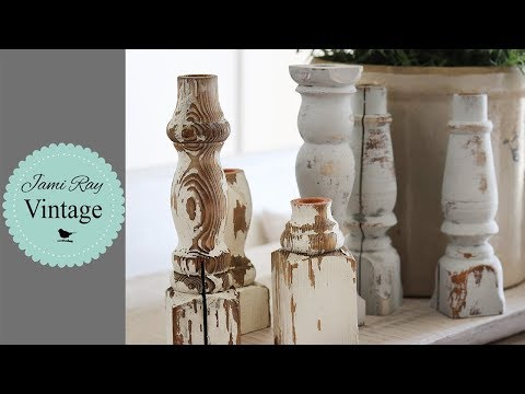 From Trash To Treasure | Chippy Farmhouse Candlesticks