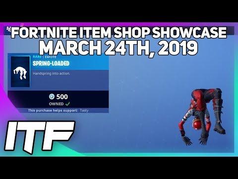 Fortnite Item Shop *NEW* SPRING-LOADED EMOTE! [March 24th, 2019] (Fortnite Battle Royale) thumbnail