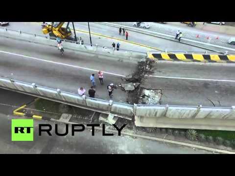 VIDEO: Un puente derrumbado por el terremoto, visto desde un dron