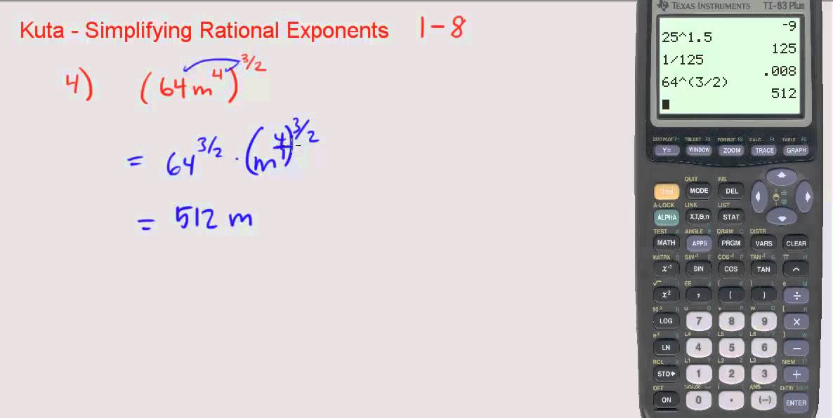 Kuta Simplifying Rational Exponents 1 through 8 YouTube – Fractional Exponents Worksheet