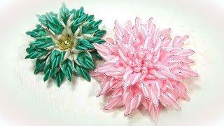 Цветы из узких лент, канзаши мк / diy satin ribbon flower