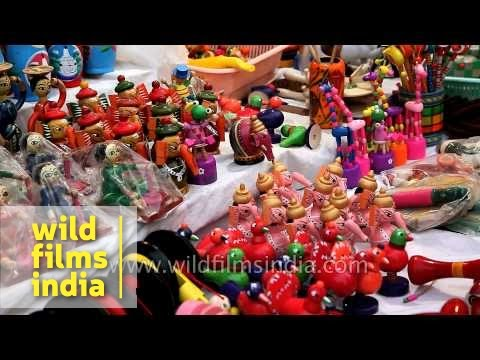 Colourful wooden toys for sale at Surajkund Mela