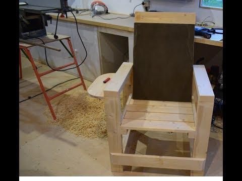 Кресло из дерева с подлокотниками своими руками