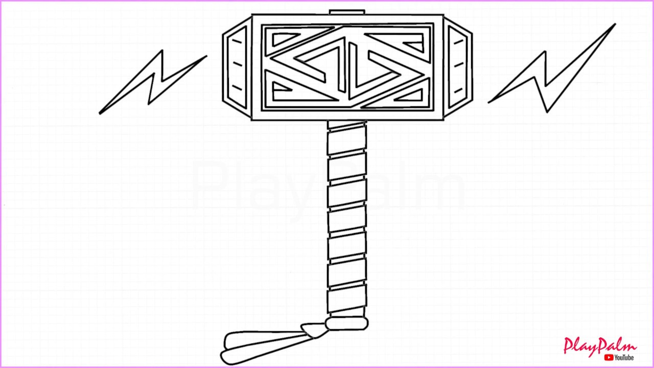 It is an image of Clever Thor Hammer Drawing