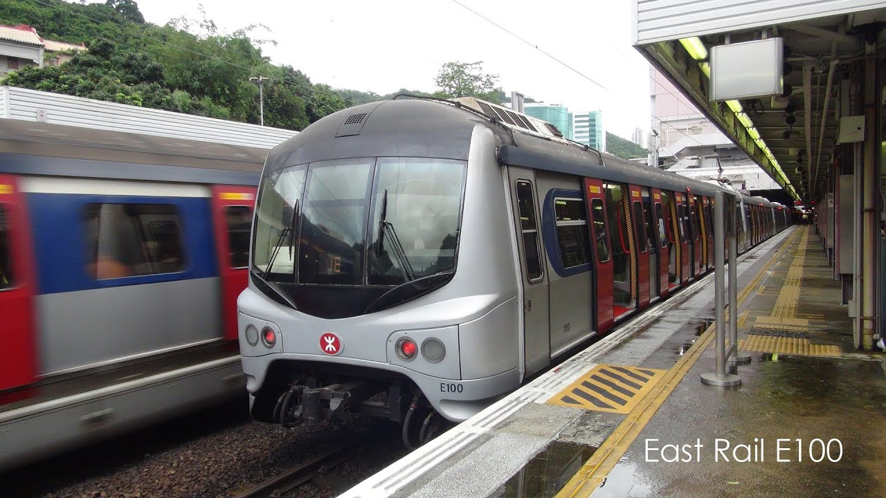 MTR E100 at Shatin Station 港鐵 E100 進入東鐵線沙田站3號月臺 - YouTube
