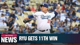 Dodgers' pitcher Ryu Hyun-jin picks up 11th win of season