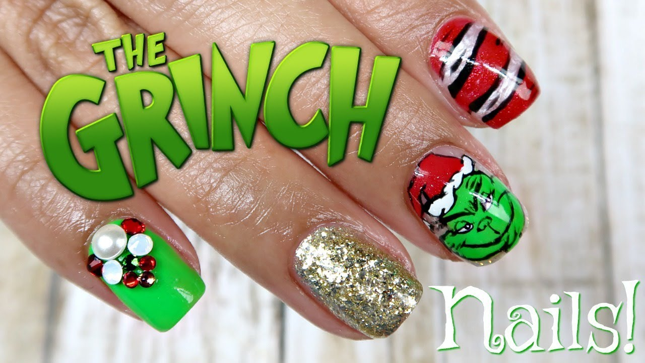 The Grinch Nail Art on Short Nails | Tips & Tricks for Hand Painting ...