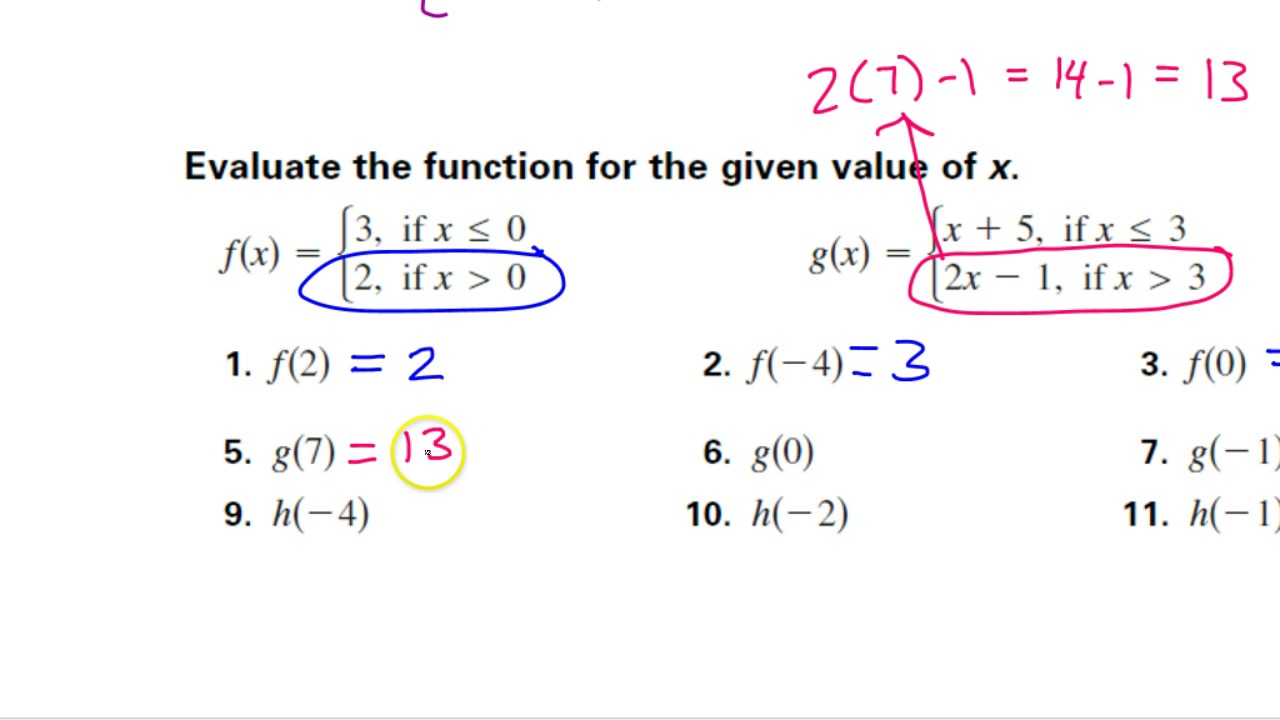 worksheet Evaluating Piecewise Functions Worksheet day 4 hw 1 to 12 how evaluate a piecewise function youtube function