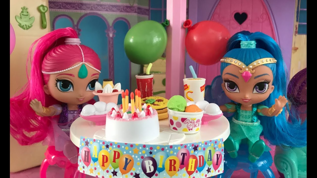 Shimmer Shine Birthday Party Cake Presents Dancing In The Disney Princess Dream Castle Dollhouse Youtube