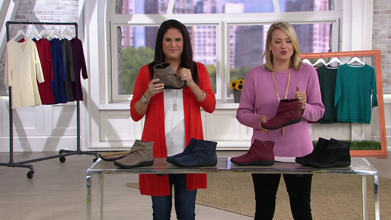 96f8d8bf45952 CLOUDSTEPPERS by Clarks Ruched Ankle Boots - Sillian Tana on QVC ...