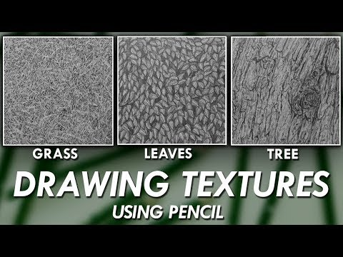 How To DRAW Realistic TEXTURES using PENCILS! - Grass, Leaves & Tree Bark