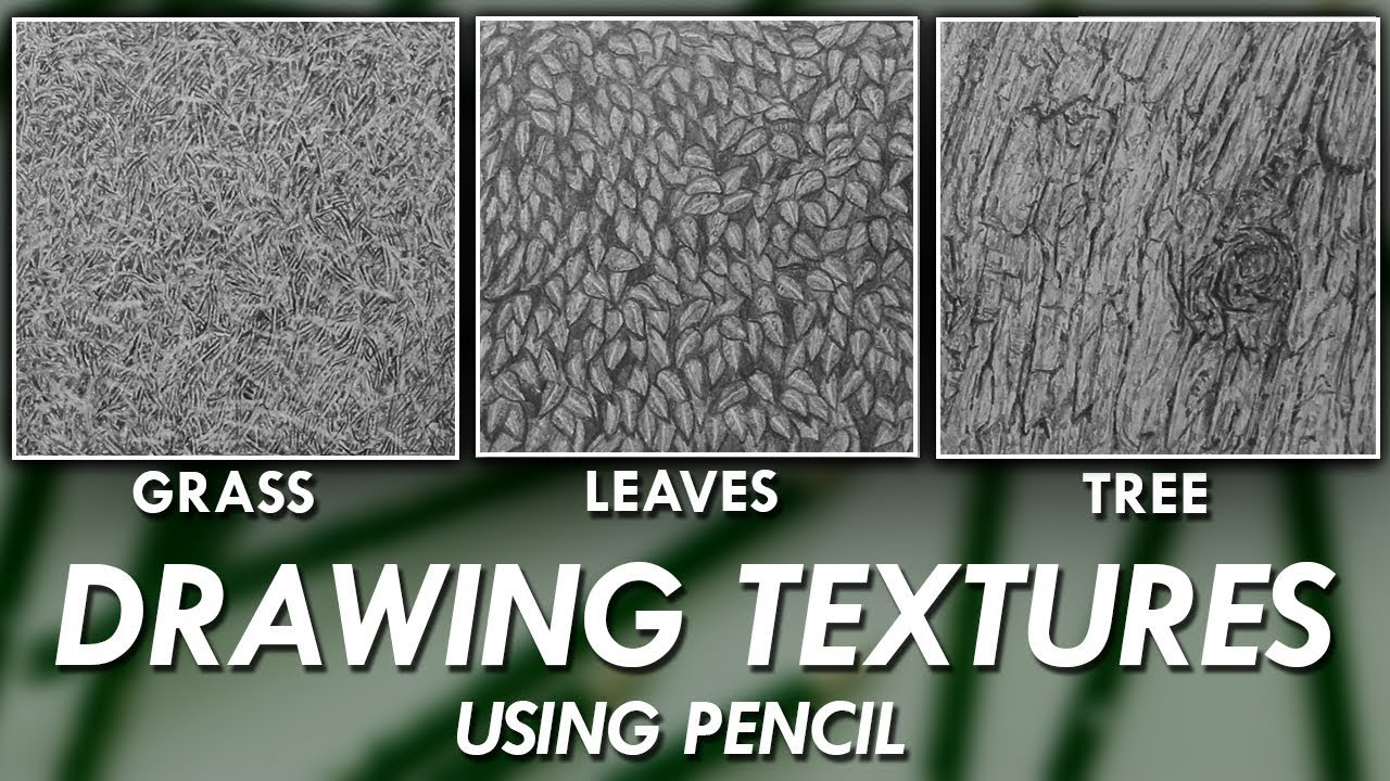 How to draw realistic textures using pencils grass leaves tree bark