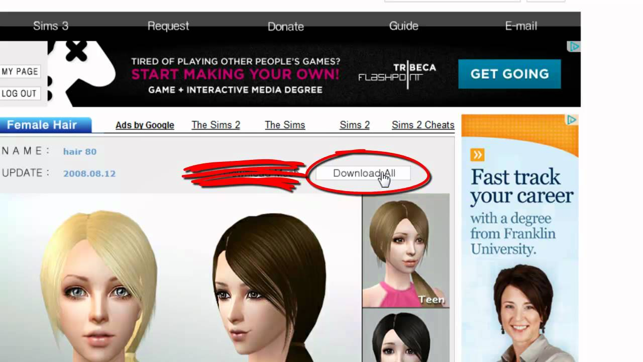 Sims 2 Tutorial How To Download Custom Hair For The Sims 2