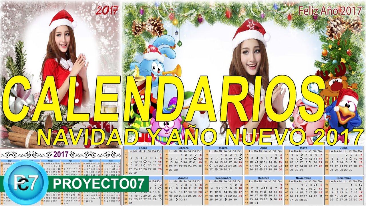 2 calendarios navidad y ao nuevo 2017 Plantillas psd para