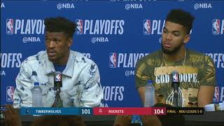 Jimmy Butler and Karl-Anthony Towns after Game 1 loss to Rockets