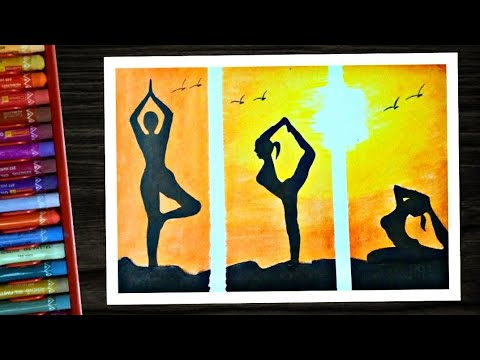 international-yoga-day-drawing-with-oil-pastel-colour-|-scenery-for-world-yoga-day