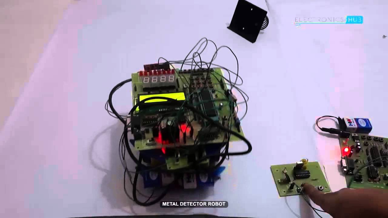 Rf Metal Detector Robot Using 8051 Microcontroller Embedded Interfacing With Circuit Diagram Projects Youtube