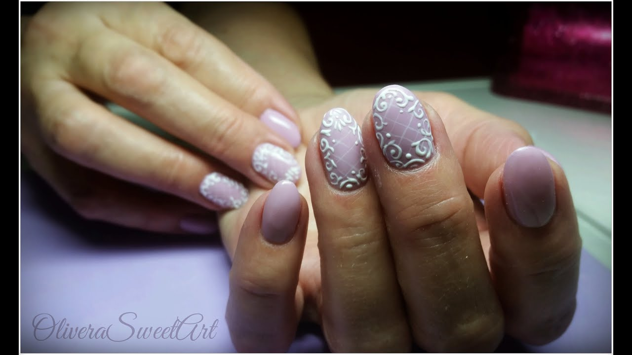 Purple Nails With 3d Lace Design Youtube
