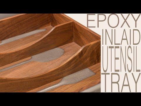 Epoxy Inlaid Utensil Tray