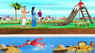 Magical Waterslide Underground Swimming Pool  Funny Comedy Video - Hindi Kahani - Hindi Comedy Video