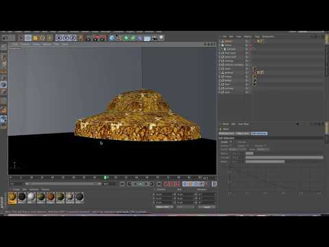 Cinema 4D  gold texturing and final room development