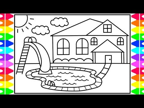How to Draw a Swimming Pool for Kids 💙Swimming Pool Drawing | Swimming Pool Coloring Pages for Kids