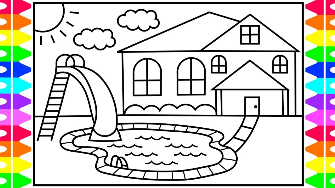 How to draw a swimming pool for kids swimming pool for Swimming pool drawing