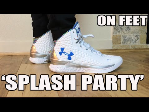 best sneakers 4fab4 621b7 UA Curry 1 One  Splash Party  On Feet, Glow in the Dark