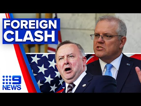 Albanese and Morrison clash over US relationship | 9 News Australia thumbnail