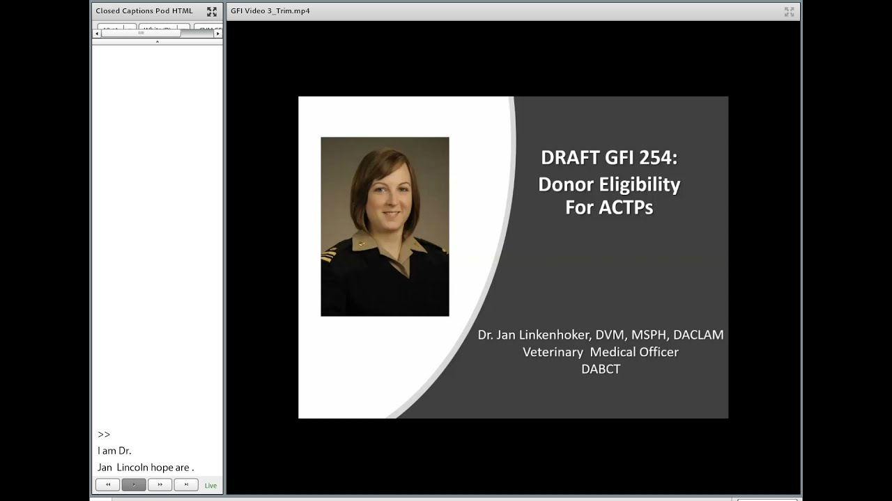 Draft Guidance #254: Donor Eligibility for ACTPs