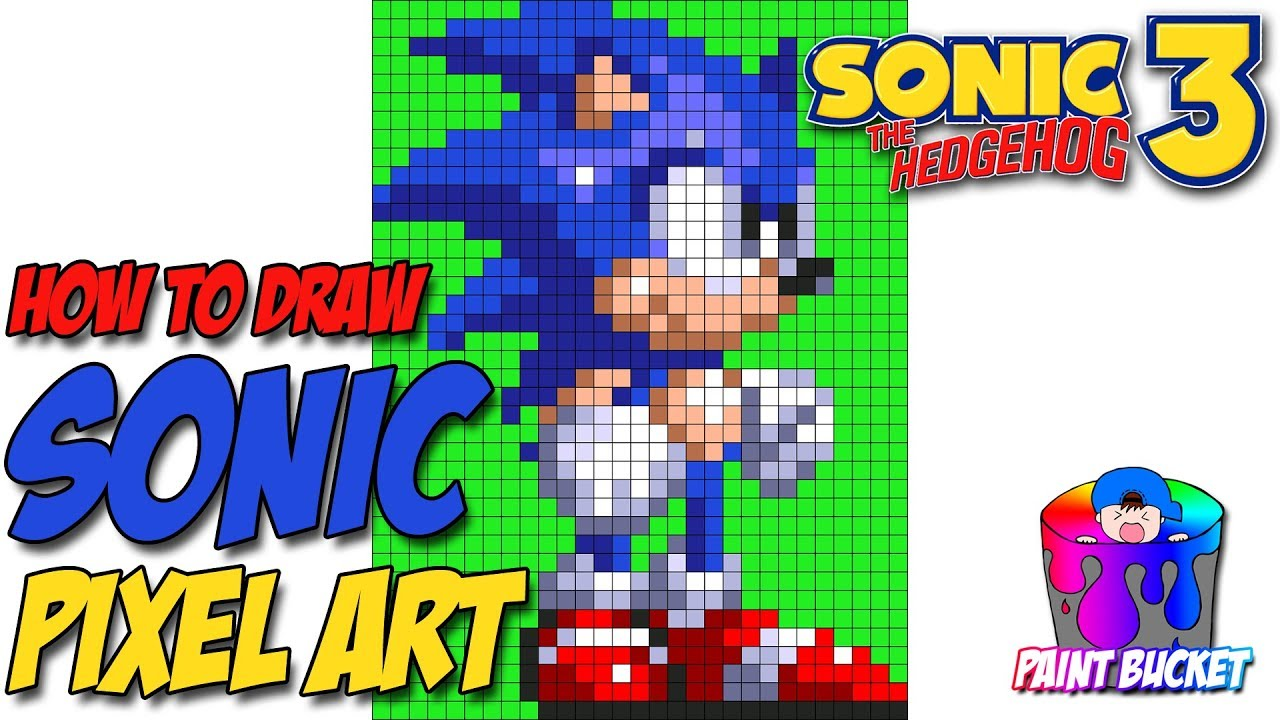 How to Draw Sonic the Hedgehog 3 – Sega's Sonic 16-Bit Pixel Art Drawing  Tutorial