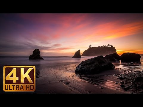 2 Hours Ocean Waves 4K Video - Nature Relaxation Sunset at Ruby Beach - Ocean Sounds